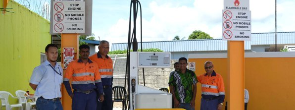 From Left:Fiji Gas North branch team leader Jefferson Gock, Fiji Gas Health, Safety and Environment Manager Niteshwar Sami, Fiji Gas National Operations Manager Max Olsson, Basrath Service Station Managing Director Saifud Dean and Fiji Gas team leader deliveries Jagish Prasad during the opening of the Vanua Levu's first auto gas station on Nasekula Road in Labasa yesterday. Photo:SHRATIKA NAIDU